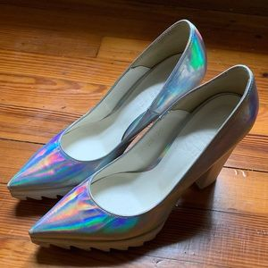 Holographic rubber sole heels size 6.5